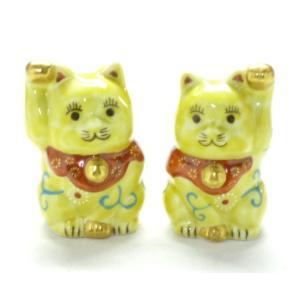 玄関飾り 金運 千客万来 幸せの黄色 手描き 縁起猫 右手 左手 九谷焼 縁起置物 ペア招き猫 黄色唐草 2号|kutanihyakkaen