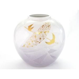 『わけあり製品』九谷焼 7号花瓶・銀彩鶴紋|kutanihyakkaen