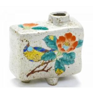 九谷焼 一輪挿し 花瓶 フラワーベース 手のひらサイズ インテリア 和風  シール焼 古九谷 花鳥図 椿に鳥(Kutani vase)百華園 kutanihyakkaen