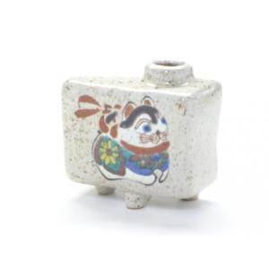 九谷焼 一輪挿し 花瓶 フラワーベース 手のひらサイズ インテリア 和風  手描き シール焼 イヌ  2018年 干支 戌(Kutani vase) kutanihyakkaen