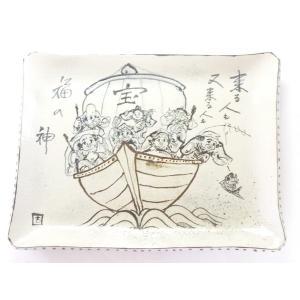 九谷焼 角皿 七福神宝船 陶器|kutanihyakkaen