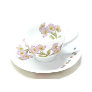 ギフト 九谷焼 カップ&ソーサー コーヒーカップ おしゃれ ギフト 転写紙 磁器 ソメイヨシノ 裏絵 |kutanihyakkaen