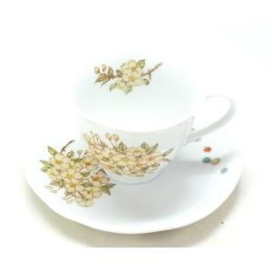 ギフト 九谷焼 カップ&ソーサー コーヒーカップ おしゃれ ギフト 転写紙 磁器 しだれ桜 裏絵 |kutanihyakkaen