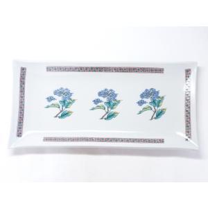 九谷焼 長皿 紫陽花 磁器|kutanihyakkaen
