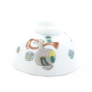 ギフト 九谷焼 飯碗 ご飯茶碗 ちゃわん おしゃれ 和食器 転写紙 磁器 軽量 宝尽くし 中裏絵(Kutani rice bowl) 百華園|kutanihyakkaen