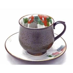 ギフト 九谷焼 カップ&ソーサー コーヒーカップ おしゃれ ギフト 手描き 花柄 赤椿|kutanihyakkaen