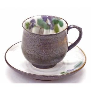 ギフト 九谷焼 カップ&ソーサー コーヒーカップ おしゃれ ギフト 手描き 花柄 紫椿|kutanihyakkaen