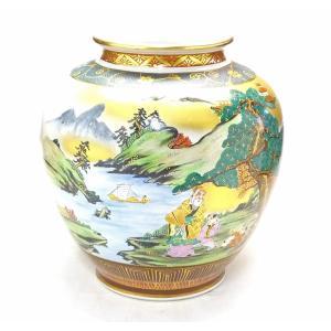 ギフト 九谷焼 花瓶 本金 山水 青粒 10号 kutanihyakkaen