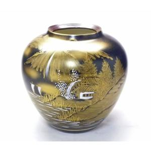 ギフト 九谷焼 花瓶 インテリア ダマシン山水 kutanihyakkaen