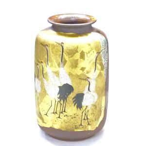 ギフト 九谷焼 花瓶 インテリア 本金箔 鶴 kutanihyakkaen