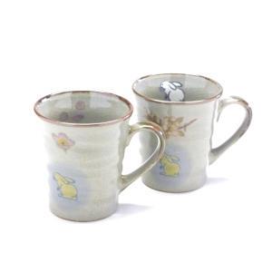 ギフト 九谷焼 ペアマグカップ マグ 白兎しだれ桜 裏絵 ギフト 結婚祝い 陶器婚式 銀婚御祝(Kutani Hyakkaen pair mug) 百華園 |kutanihyakkaen