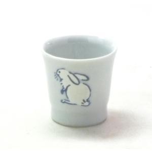 ギフト 九谷焼 酒器 ぐい呑み 盃 おしゃれ ギフト 退職お祝い 転写紙 ウサギ なでしこ 中絵|kutanihyakkaen