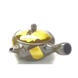 ギフト 九谷焼 萬古焼 急須 茶器 きゅうす 和食器 ご贈答 内祝 豪華 手描き 小 銀彩キイロ 百華園|kutanihyakkaen