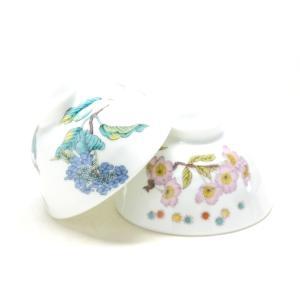 ギフト 和食器 日本製 おしゃれ 軽い 転写紙焼成 磁器 軽量 九谷焼 ペア飯碗 桜&紫陽花|kutanihyakkaen