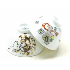 ギフト 和食器 日本製 軽い 磁器 軽量 おしゃれ 縁起柄 九谷焼 ペア飯碗 宝尽くし&風神雷神|kutanihyakkaen
