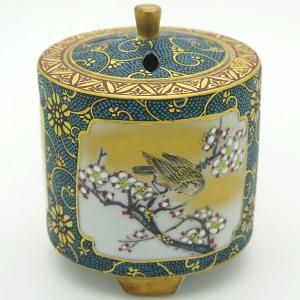 九谷焼 3号香炉 間取花鳥[佐伯善信]|kutaniyaki