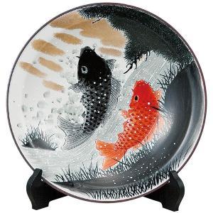 九谷焼10号飾皿 鯉の滝登り 皿立付|kutaniyaki