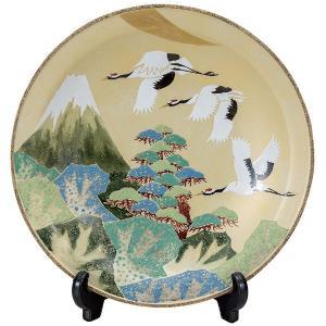 九谷焼10号飾皿 富士に鶴 皿立付|kutaniyaki