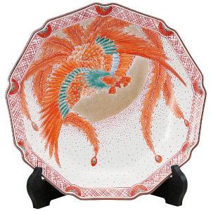 九谷焼10号飾皿 赤絵鳳凰 皿立付|kutaniyaki