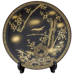 九谷焼10号飾皿 梅にうぐいす 皿立付|kutaniyaki