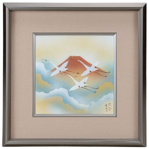 九谷焼陶額 赤富士|kutaniyaki