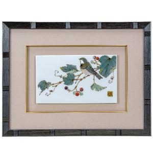九谷焼陶額 野ぶどうに四十雀|kutaniyaki