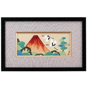 九谷焼陶額 赤富士に鶴 古田弘毅|kutaniyaki