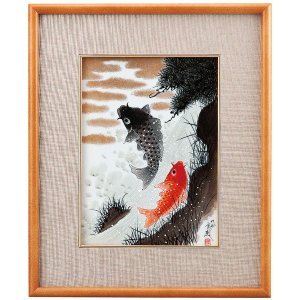 九谷焼陶額 鯉の滝登り 福田良則|kutaniyaki