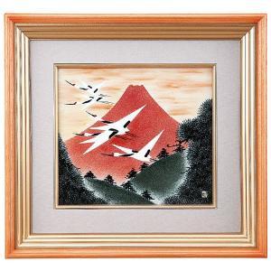 九谷焼陶額 赤富士に鶴 福田良則|kutaniyaki