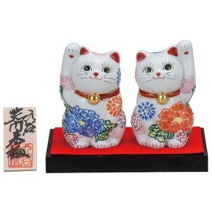 九谷焼3.2号ペア招き猫 花づくし 台|kutaniyaki