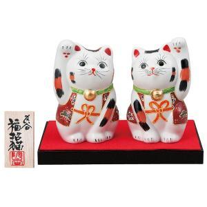 九谷焼3.5号ペア招き猫 盛 台・敷物|kutaniyaki