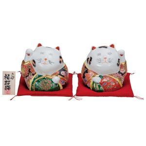 九谷焼4号ペア招き猫 盛 布団・立札付|kutaniyaki
