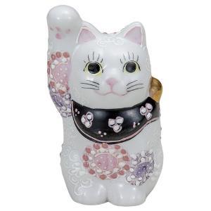 九谷焼3.2号招き猫 花むらさき|kutaniyaki