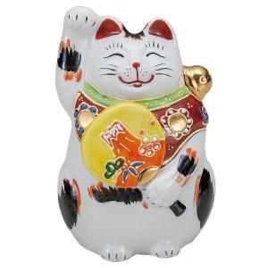 九谷焼3.5号左団扇招き猫 三毛|kutaniyaki