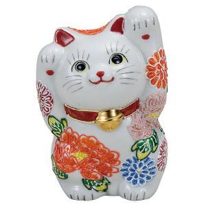 九谷焼4号両手招き猫 花づくし|kutaniyaki