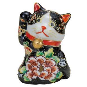 九谷焼4号見返り招き猫 黒盛花と蝶|kutaniyaki