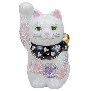 九谷焼4号招き猫 花むらさき|kutaniyaki