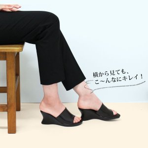 オフィス サンダル レディース 黒 美脚 日本製 本革|kutsu-nishimura|04