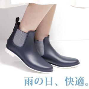 レイン ブーツ ショート レディース 長靴 雨靴 黒 防水 サイドゴア|kutsu-nishimura|02