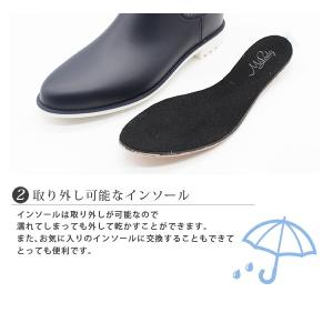 レイン ブーツ ショート レディース 長靴 雨靴 黒 防水 サイドゴア|kutsu-nishimura|04