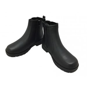 サイドゴア+ファスナー付きで履きやすい秋冬用婦人ブーツ  ファスナーの内側に水の侵入を防ぐ水除け付き...