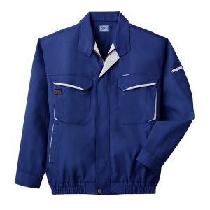 空調服 綿・ポリ混紡長袖作業着 K-500N 〔カラー:ブルー サイズ:L〕 電池ボックスセット|kwelfare