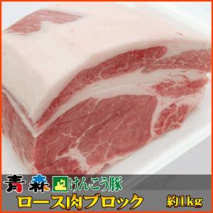 青森 けんこう 豚 ロース ブロック 約1kg (500g x 2) |同梱用| セール お中元 食べ物 国産 冷凍|kwgchi