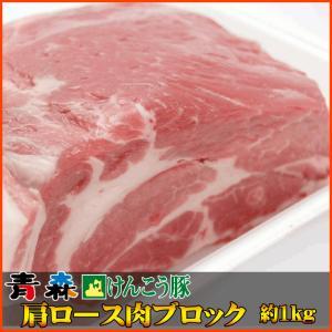 青森 けんこう 豚 肩 ロース ブロック 約1kg (500gx2) |同梱用| セール お中元 食べ物 国産 冷凍|kwgchi