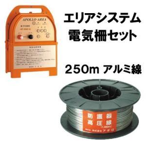 「エリアシステム電気柵セット(二段張り) 250m アルミ線」|kwn