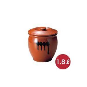 メーカー直送・代引不可 蓋付半胴瓶 1号 漬け物つぼ 紅星窯 1.8L J-1|kwtdi