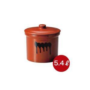 メーカー直送・代引不可  蓋付切立瓶 3号 漬け物つぼ 紅星窯 5,4L J-10|kwtdi