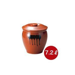メーカー直送・代引不可  蓋付半胴瓶 4号 漬け物つぼ 紅星窯 7,2L J-4|kwtdi