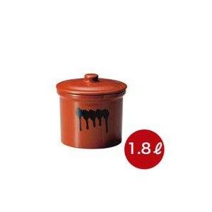 メーカー直送・代引不可  蓋付切立瓶 1号 漬け物つぼ 紅星窯 1,8L J-8|kwtdi