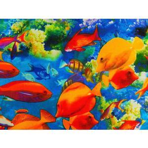 生地 布 輸入 USAコットン ライフズ ア ビーチ 8439−99 コーラルリーフ 珊瑚礁 熱帯魚 カンヴァス ベナーテックス 商用利用可能
